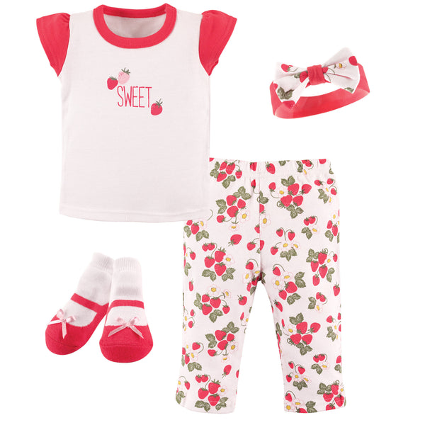 Hudson Baby Layette Boxed Giftset, Strawberries
