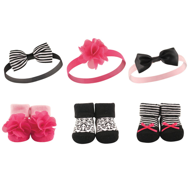Hudson Baby Headband and Socks Giftset, Damask