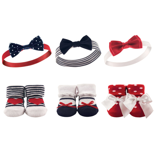 Hudson Baby Headband and Socks Giftset, Red Navy