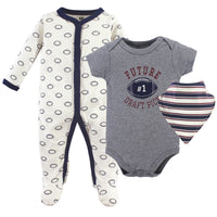 Hudson Baby Cotton Sleep and Play, Bodysuit and Bandana Bib Set, Football