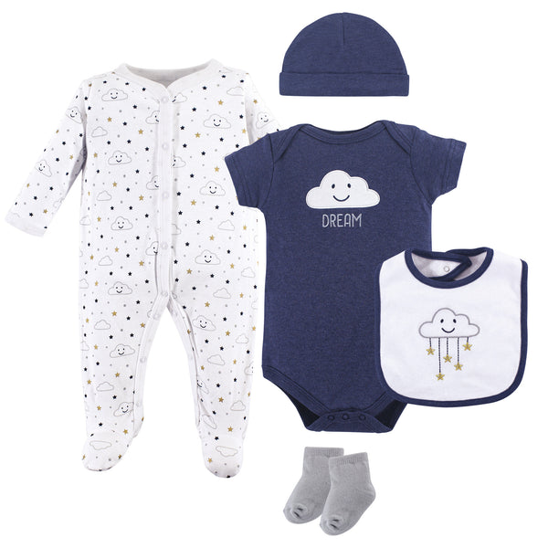 Hudson Baby Cotton Layette Set, Navy Clouds