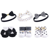 Hudson Baby Headband and Socks Giftset, Black Gold