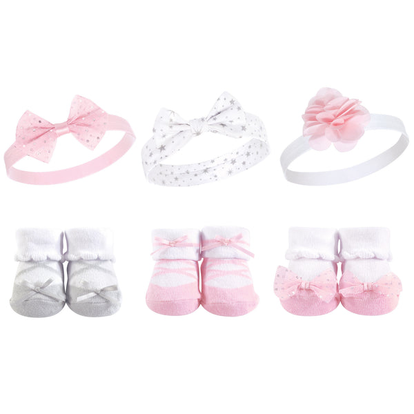 Hudson Baby Headband and Socks Giftset, Ballet