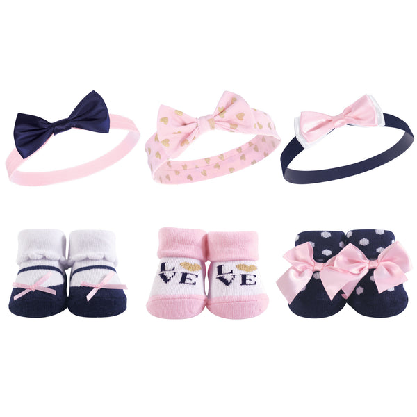Hudson Baby Headband and Socks Giftset, Navy Love
