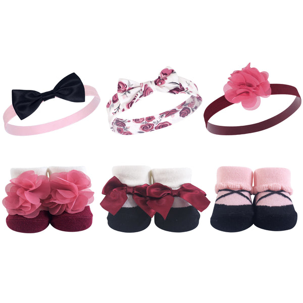 Hudson Baby Headband and Socks Giftset, Burgundy Floral
