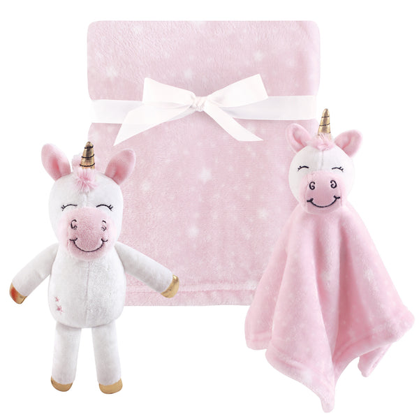 Hudson Baby Plush Blanket, Security Blanket and Toy Set, Pink Unicorn Security Blanket