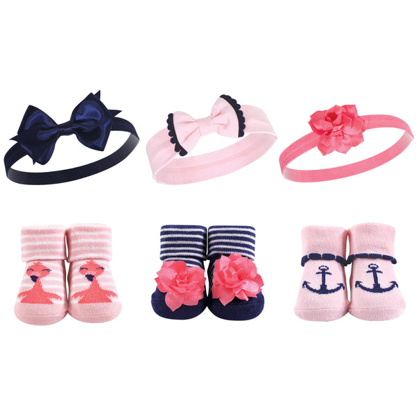 Hudson Baby Headband and Socks Giftset, Flamingo