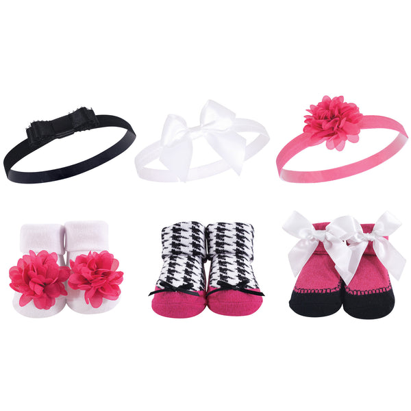 Hudson Baby Headband and Socks Giftset, Dark Pink Black