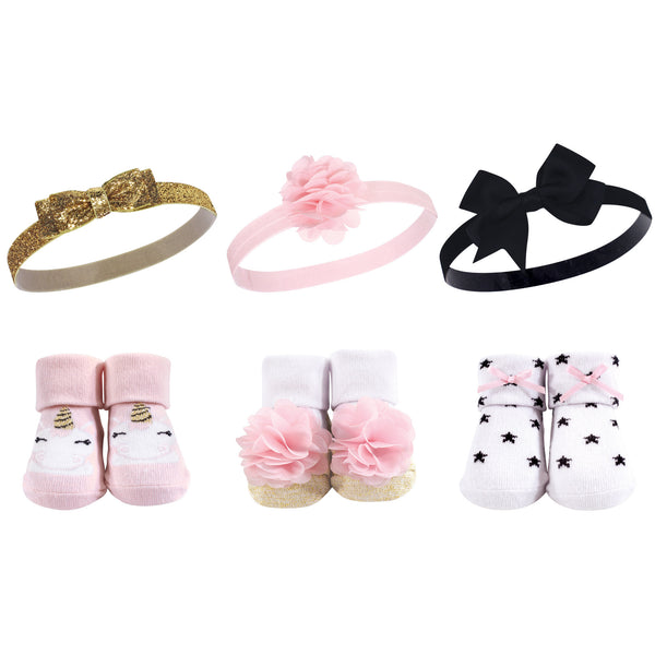 Hudson Baby Headband and Socks Giftset, Gold Unicorn Stars