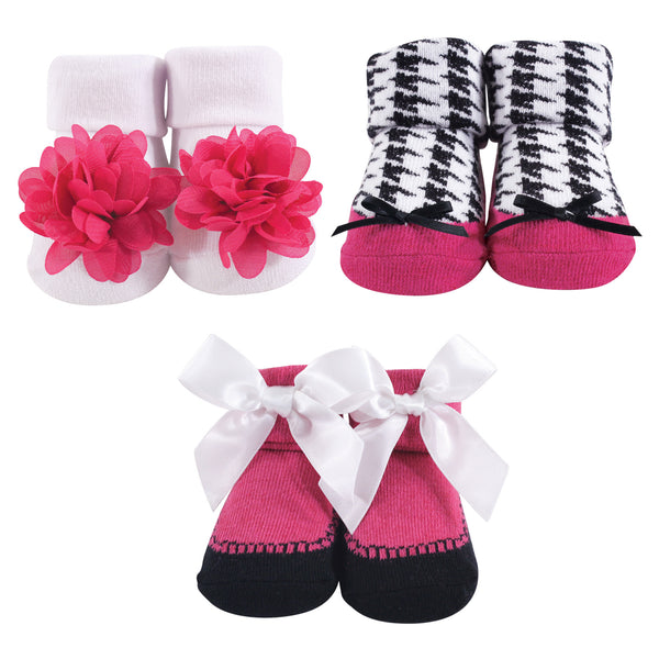Hudson Baby Socks Boxed Giftset, Dark Pink Black