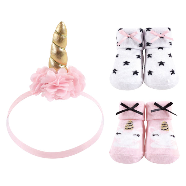 Hudson Baby Headband and Socks Giftset, Gold Unicorn