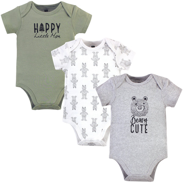 Hudson Baby Cotton Bodysuits, Black Bear