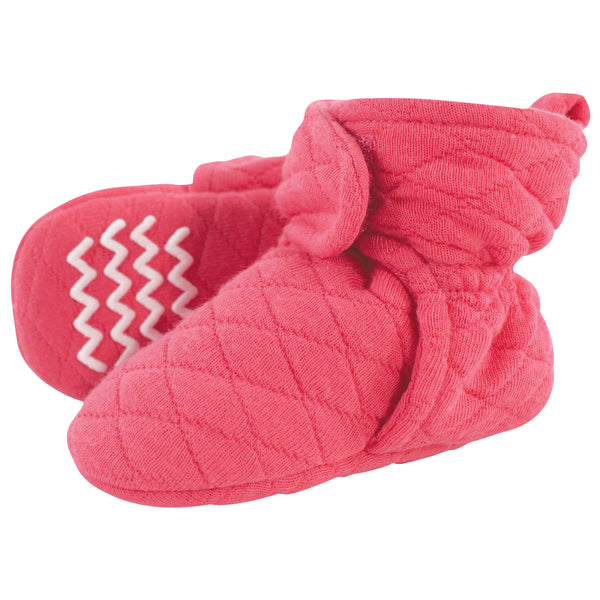 Hudson Baby Quilted Booties, Dark Pink