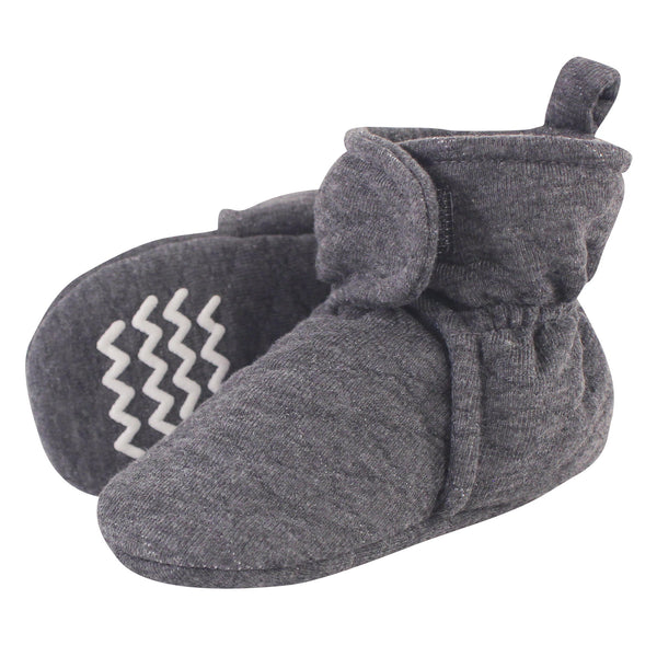 Hudson Baby Quilted Booties, Charcoal