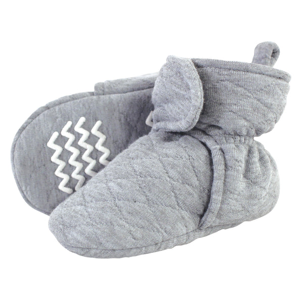 Hudson Baby Quilted Booties, Heather Gray