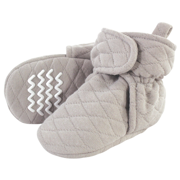 Hudson Baby Quilted Booties, Gray