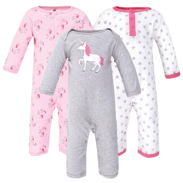 Hudson Baby Cotton Coveralls, Pink Unicorn