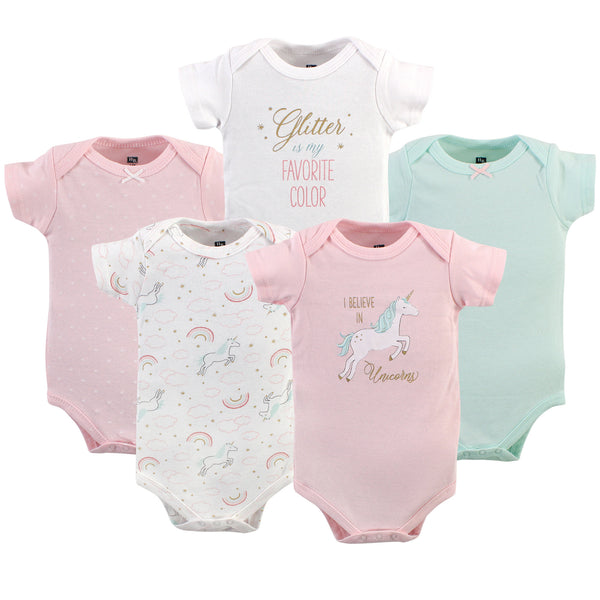Hudson Baby Cotton Bodysuits, Glitter Unicorn
