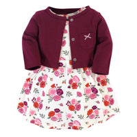 Hudson Baby Cotton Dress and Cardigan Set, Fall Floral