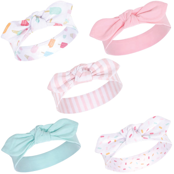 Hudson Baby Cotton and Synthetic Headbands, Ice Cream