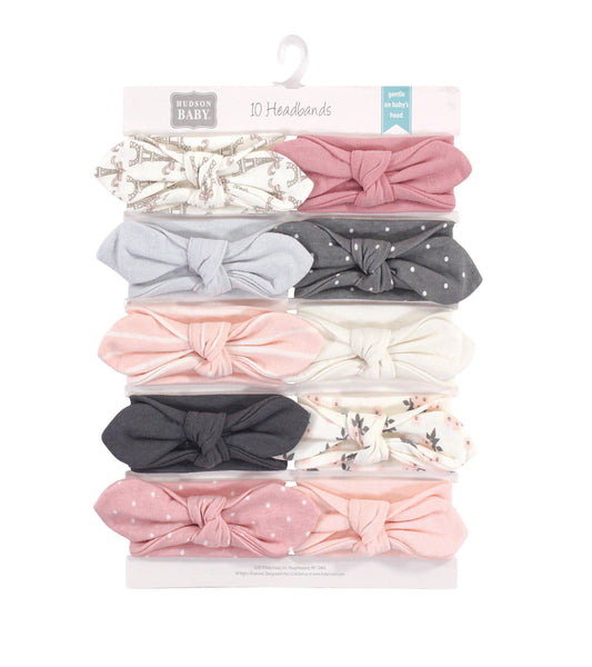 Hudson Baby Cotton and Synthetic Headbands, Paris