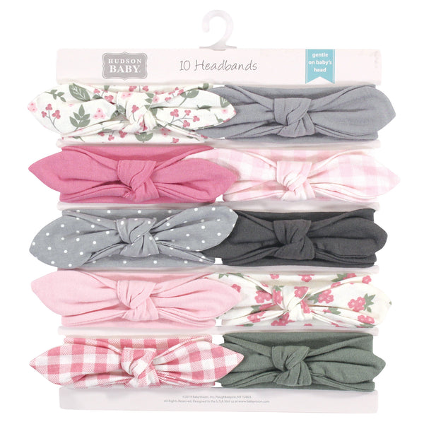 Hudson Baby Cotton and Synthetic Headbands, Gingham