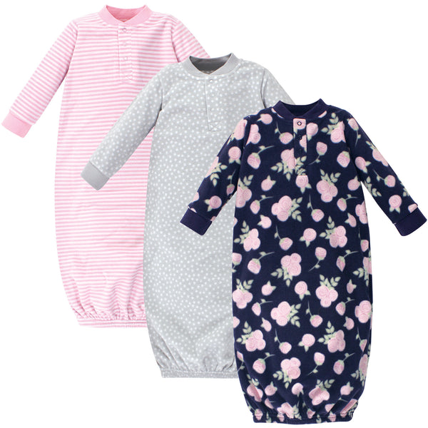 Hudson Baby Fleece Gowns, Navy Rose