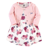 Hudson Baby Cotton Dress and Cardigan Set, Blush Floral