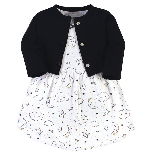 Hudson Baby Cotton Dress and Cardigan Set, Dreamer