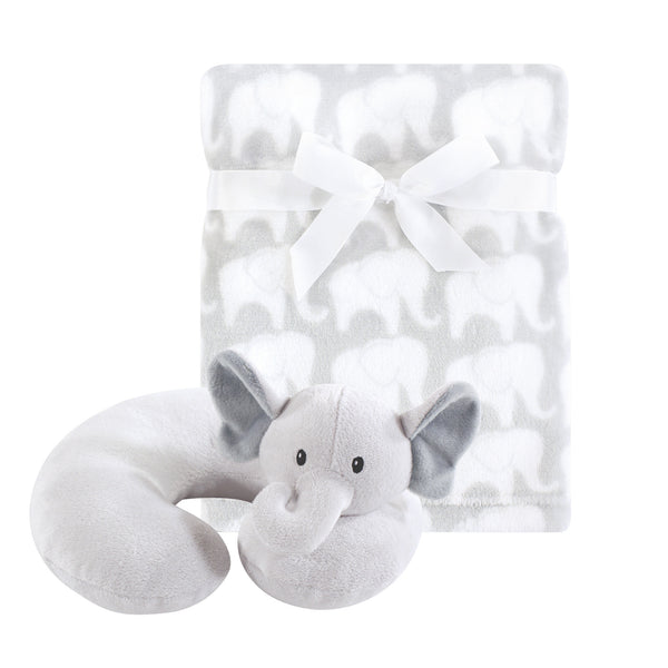Hudson Baby Neck Pillow and Plush Blanket Set, Gray Elephant