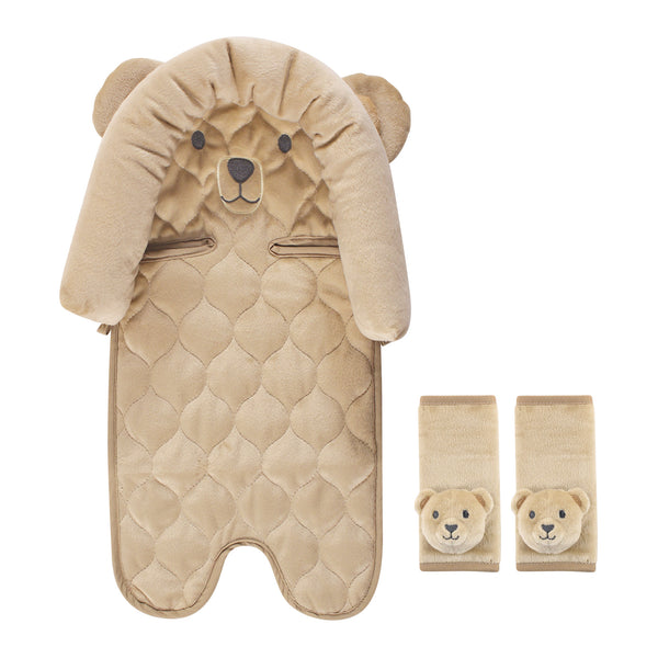 Hudson Baby Car Seat Insert and Strap Covers, Tan Bear