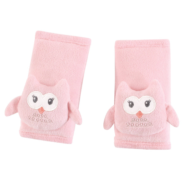 Hudson Baby Cushioned Strap Covers, Pink Owl