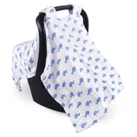 Hudson Baby Muslin Cotton Car Seat and Stroller Canopy, Blue Whale