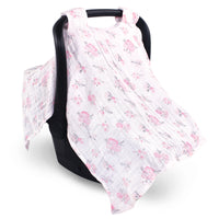 Hudson Baby Muslin Cotton Car Seat and Stroller Canopy, Pastel Floral