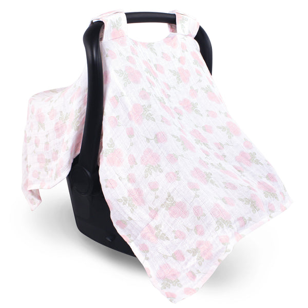 Hudson Baby Muslin Cotton Car Seat and Stroller Canopy, Pink Rose