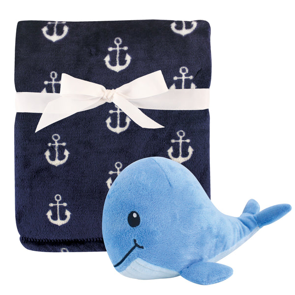 Hudson Baby Plush Blanket with Toy, Anchor Whale