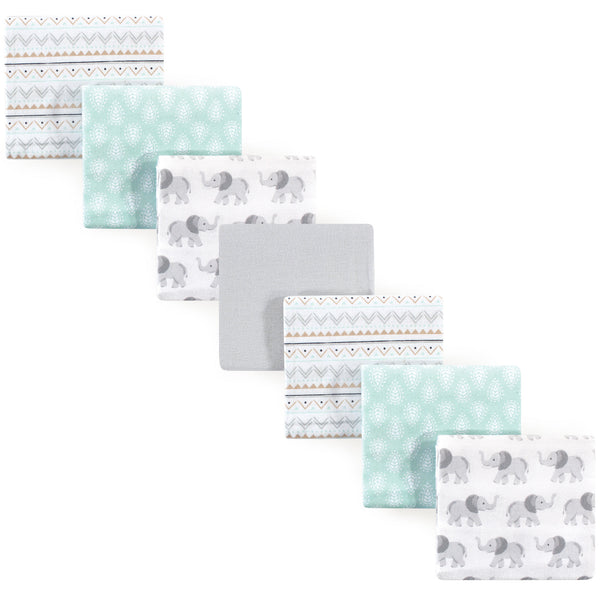 Hudson Baby Cotton Flannel Receiving Blankets Bundle, Gray Elephant