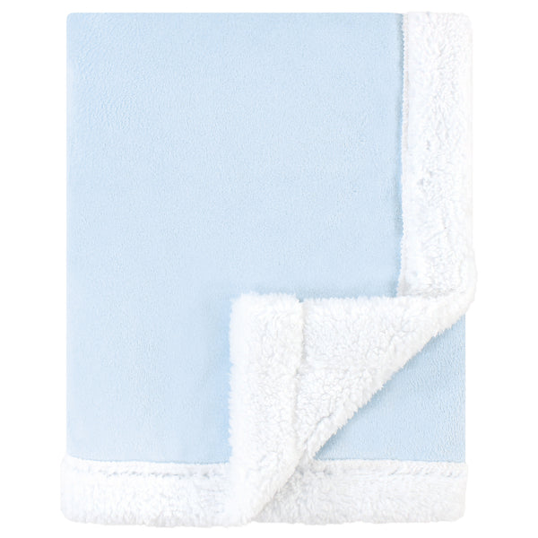 Hudson Baby Plush Blanket with Sherpa Back, Light Blue White