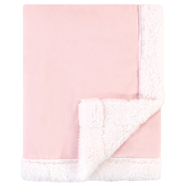 Hudson Baby Plush Blanket with Sherpa Back, Light Pink White
