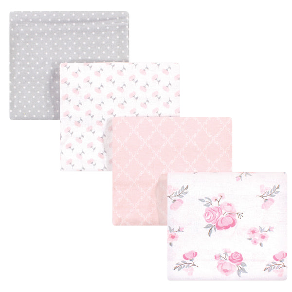 Hudson Baby Cotton Flannel Receiving Blankets, Pink Floral