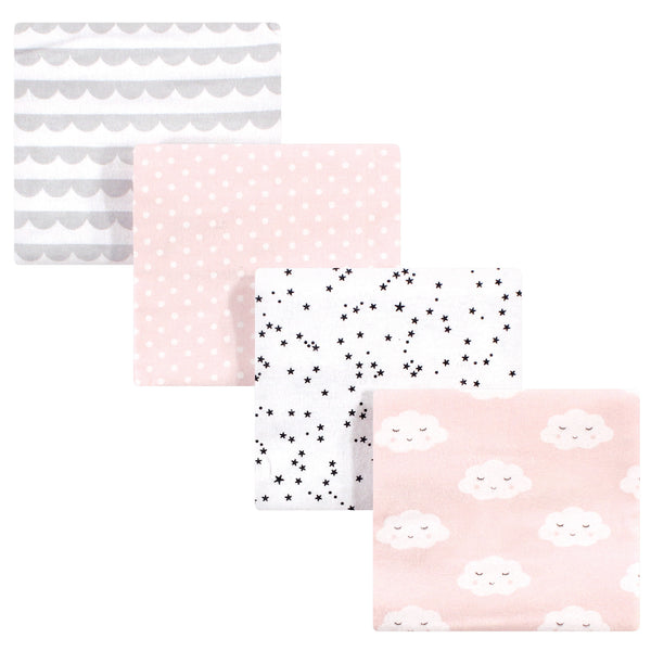 Hudson Baby Cotton Flannel Receiving Blankets, Pink Clouds