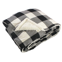 Hudson Home Collection Mink Blanket with Sherpa Back, Black Cream Plaid Sherpa