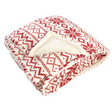 Hudson Home Collection Mink Blanket with Sherpa Back, Red Fair Isle Sherpa