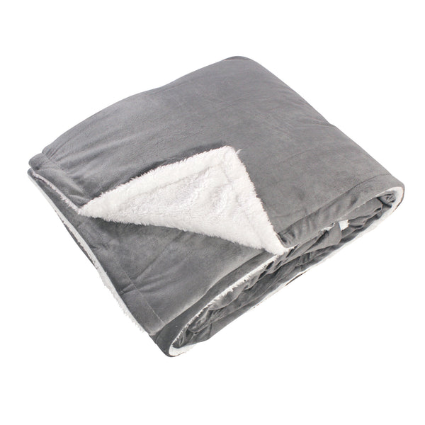 Hudson Home Collection Mink Blanket with Sherpa Back, Charcoal Sherpa