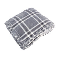 Hudson Home Collection Silky Plush Blanket, Gray Charcoal Plaid Fleece