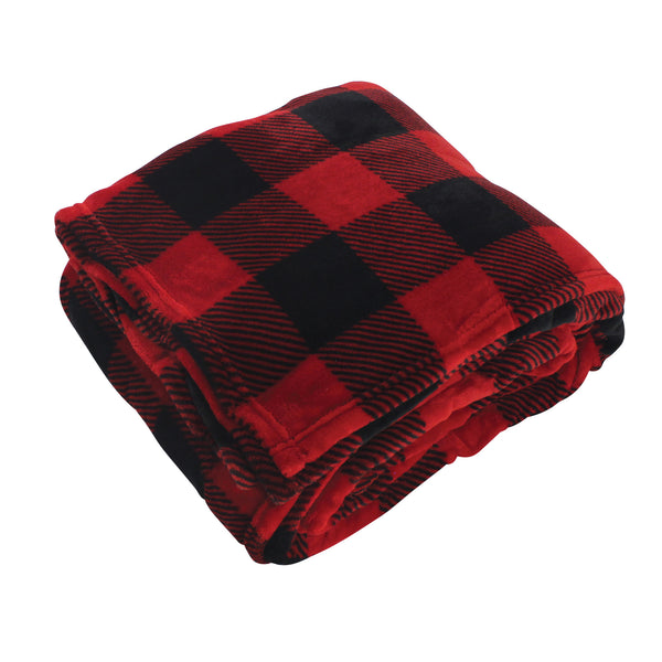 Hudson Home Collection Silky Plush Blanket, Buffalo Plaid Fleece