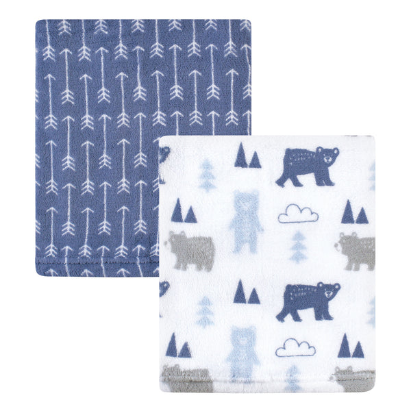 Hudson Baby Silky Plush Blanket, Bears And Arrows