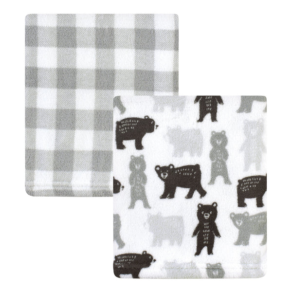 Hudson Baby Silky Plush Blanket, Bears And Plaid