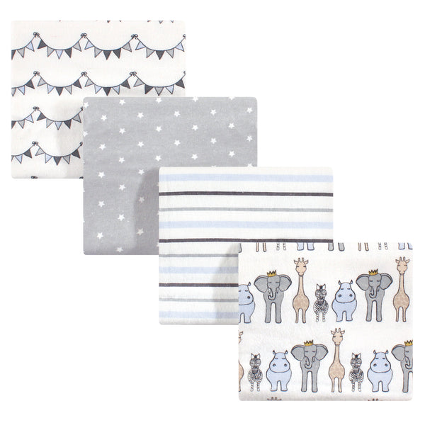 Hudson Baby Cotton Flannel Receiving Blankets, Royal Safari