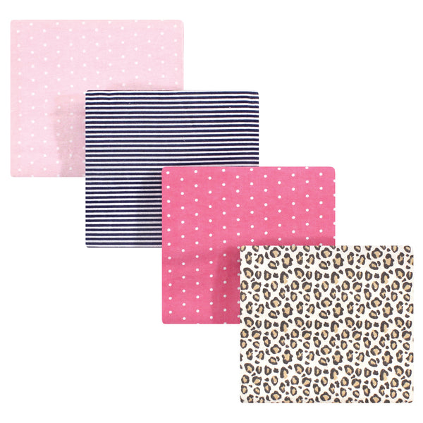 Hudson Baby Cotton Flannel Receiving Blankets, Leopard